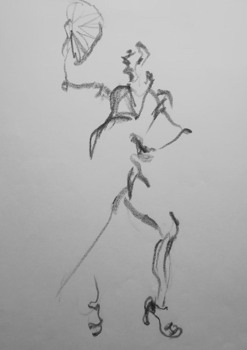 On the runway pencil drawing